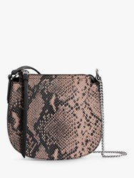 Allsaints Ely Small Leather Snake Cross Body Bag Pink Multi