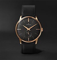 Junghans Meister Handaufzug Hand Wound 37.7Mm Stainless Steel And Leather Watch Black