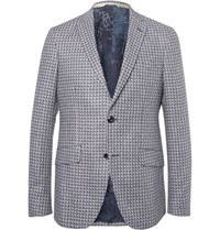 Etro Blue Checked Silk Jacquard Blazer Navy