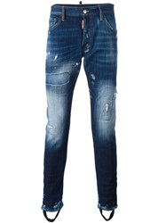 Dsquared2 Bleached Distressed Effect Jeans Blue