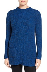 Chaus Women's Two Pocket Mock Neck Tunic Sweater Blue Black Marble