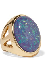 Kenneth Jay Lane Gold Plated Opal Ring Blue