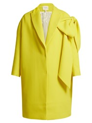 Delpozo Bow Embellished Wool Coat Yellow