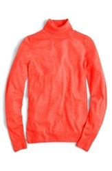 J.Crew Women's Featherweight Cashmere Turtleneck Neon Papaya