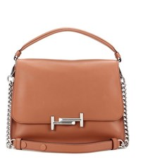 Tod's Double T Medium Leather Shoulder Bag Brown