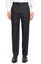Santorelli Men's Big And Tall Flat Front Twill Wool Trousers Black