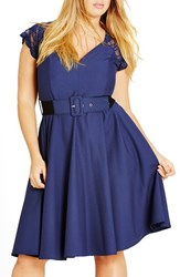 City Chic Plus Size Women's Lace Sleeve Belted Fit And Flare Dress French Navy
