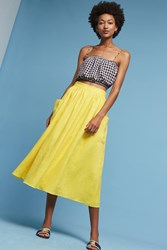 Anthropologie Patch Pocket Midi Skirt Yellow