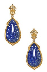 Cristina Sabatini 18K Yellow Gold Plated Sterling Silver Orchid Vintage Lapis Earrings