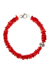Stephen Oliver Sterling Silver Coral And Bali Bead Bracelet Red