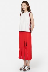 Opening Ceremony Glide Twisted Panel Mid Calf Skirt Cherry Red