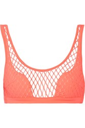 Agent Provocateur Shannon Stretch Fishnet Bikini Top Coral
