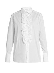 Bella Freud Dado Ruffle Placket Cotton Shirt White