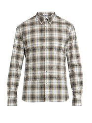 Tomas Maier Checked Cotton Shirt Green Multi