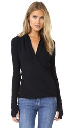 Enza Costa Ballet Wrap Sweater Black