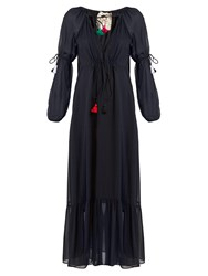 Figue Nicolete V Neck Silk Georgette Dress Navy