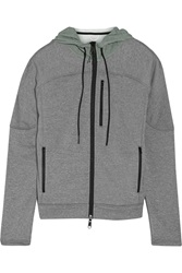 Theory Beamed Jersey And Shell Hooded Sweatshirt Gray