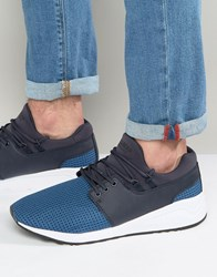 Pull And Bear Pullandbear Faux Leather Runner Trainers In Blue Blue