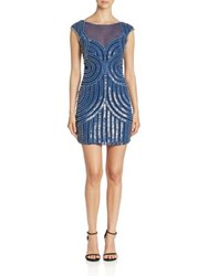 Parker Black Boatneck Cap Sleeve Illusion Dress Cadet Blue