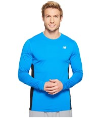 New Balance Accelerate Long Sleeve Shirt Electric Blue Black Men's Long Sleeve Pullover