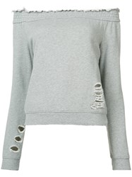 Pam And Gela Off Shoulders Sweatshirt Women Cotton Xs Grey