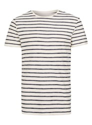 Topman Blue Selected Homme Navy And Off White Stripe T Shirt