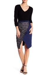 Catherine Malandrino Faux Suede Paneled Wrap Over Skirt Blue
