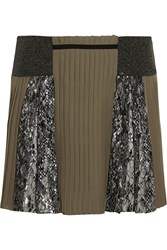 Mary Katrantzou Embroidered Tulle And Pleated Silk Mini Skirt Green