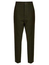 Haider Ackermann Proud Wool Cropped Trousers Khaki