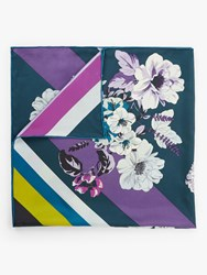 Fraas Floral And Stripe Print Square Silk Scarf Navy Multi