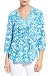 Nydj Women's 'Patchwork Mosaic' Print Split Neck Blouse Graphic Tie Dye Diamonds