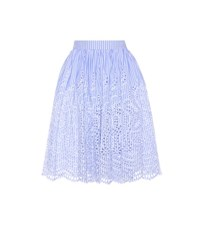 Miu Miu Embroidered Cotton Skirt Blue