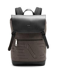 Fendi Optical Striped Canvas And Leather Backpack Black Multi