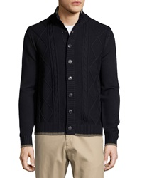 Neiman Marcus Cable Knit Stand Collar Cardigan Dark Midnight