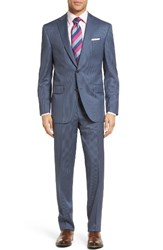 David Donahue Men's Big And Tall Ryan Classic Fit Stripe Wool Suit Blue