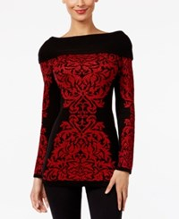 Inc International Concepts Jacquard Boat Neck Tunic Only At Macy's Black Red