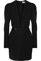 Saint Laurent Gathered Crepe Mini Dress Black