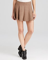 Aqua Skirt Faux Suede Mini Camel