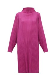 Issey Miyake Pleats Please High Neck Technical Pleated Dress Pink