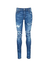 Amiri 'Mx1' Pleated Patchwork Distressed Skinny Jeans Blue