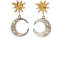 Judy Geib Sun And Moon Double Drop Earrings Gold