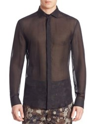 Versace Sheer Casual Button Down Shirt Black