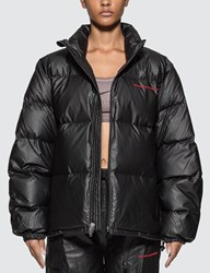 Alexander Wang Chynatown Pleather Nylon Puffer Jacket Black