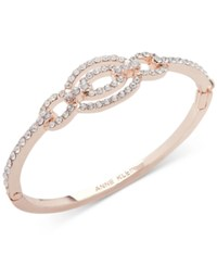 Anne Klein Rose Gold Tone Pave Link Bangle Bracelet Created For Macy's