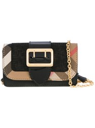Burberry Buckle Detail Wallet On Chain Women Cotton Leather One Size Black