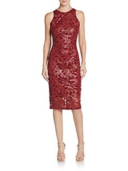Alexia Admor Faux Leather Lace Sheath Dress Burgundy
