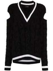 Balmain Chunky Cable Knit Sweater Black
