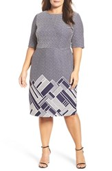 Gabby Skye Plus Size Women's Stripe Jacquard Knit Body Con Dress
