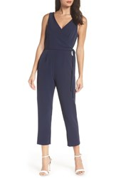 Charles Henry Faux Wrap Jumpsuit Navy