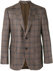 Canali Checked Blazer Men Silk Linen Flax Cupro Wool 54 Brown